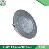 Empotrado / empotrado de aluminio redondo Gabinete de luz de plata LED