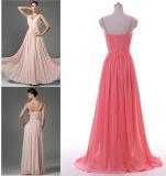 A - linha/vestido da princesa V-Garganta Assoalho-Comprimento Chiffon Dama de honra com plissado