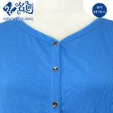 Vestito lungo casuale del manicotto del V-Collo del tasto dalle signore sottili lunghe blu della Alto-Vita