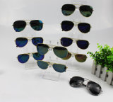 5 paires transparentes élevées de lunettes de soleil en verre d'étalage acrylique de magasin au détail