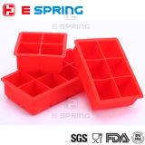 ふたの正方形の氷3のサイズのOEM 6キャビティシリコーンの角氷の皿