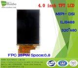 """étalage de TFT LCD de 4.0 """" 320*480 Mipi-Dsi, IC : Ili9488, FPC 25pin pour la position, sonnette, médicale, véhicules"""