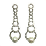 Silver Drop Earring Drop Pearl Earrings com AAA White CZ para novo design (E6852)