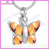 Venta al por mayor de vidrio de la mariposa Pet Memorial pendientes de acero inoxidable Collar Cremación