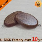 Presente de madeira da promoção da movimentação do flash do USB da noz oval quente (YT-8119L1)