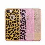 Caso del leopardo TPU del teléfono móvil con el diamante para el iPhone 7