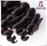 Negro natural de la onda de la Virgen del pelo del doble de la extensión Weft floja peruana del pelo humano