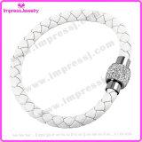 Armband van de Greep van de Kristallen bol van de Armband van het Leer van het roestvrij staal de Magnetische Magnetische