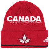Beanie acrylique d'hockey de toque de Knit de jacquard de configuration du Canada (CPHC-7013X)