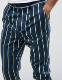 Pantaloni astuti affusolati in banda
