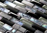 Mosaico del shell de agua dulce y del vidrio de mármol y cristalino 15*30