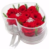 تصميم مبتكر يزهر يعبّئ صندوق لأنّ زهرات مع واضحة أكريليكيّ قلب شكل صندوق