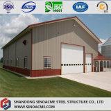 Magazzino prefabbricato della struttura d'acciaio con il baldacchino ed il garage