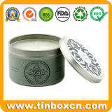 Круглая коробка олова металла для свечек Aromatherapy