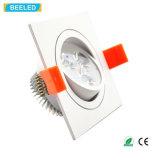 Quadratische weiße Aluminiumhohe Leistung 3W wärmen weiße LED-Decken-Lampe Dimmable LED Downlight