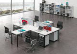 Sitio de trabajo en forma de L funcional multi de la oficina con la tarjeta de escritura