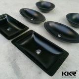 Bacia de lavagem preta superior de superfície contínua da cor da tabela da pedra do rio