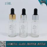 transparente Glasflaschen-wesentliches Öl-Flasche des tropfenzähler-15ml mit dem heißen Stempeln