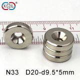Nickel-Beschichtung-Schrauben-Loch NdFeB Magneten