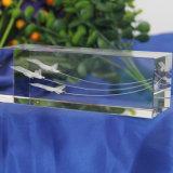 métier de presse-papiers de cube en gravure du laser 3D pour le cadeau en cristal