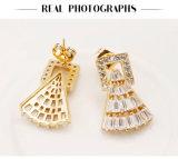 Pendientes plateados oro de la joyería de la boda del contrato para las mujeres