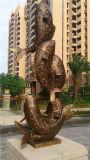 Résine Imitation Cuivre Eau Sculpture Poisson, Jardin extérieur Sculpture en métal.