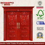Роскошная деревянная двойная дверь входа листьев (GSP1-001)