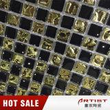 Плитка мозаики золота черная стеклянная, мозаика украшения лоббиа