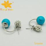 Pendientes azules clásicos de la boda de diamante de la turquesa del color Smer-007