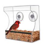 Alimentador de acrílico de encargo del pájaro de la ventana con la taza fuerte estupenda de la succión