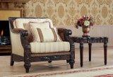 木フレームとセットされる古典的なファブリックソファーの骨董品愛シートの椅子の古典的な表
