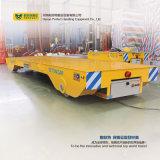 Тележка желтого цвета железнодорожная плоская с стальными колесами крана