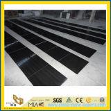 Lastra di pietra di marmo granulare di legno nera per la decorazione della pavimentazione