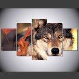 HD ha stampato la maschera domestica moderna di arte della parete della decorazione della pittura della foresta del lupo della tela di canapa di arte animale modulare della stampa per il salone Mc-154