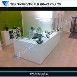 Diseño superficial sólido de acrílico de mármol derecho de las dimensiones del escritorio de recepción del lujo LED de la belleza única moderna (TW-MART-026)