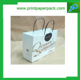 Bolso de compras impreso aduana del papel de Kraft con la impresión de la insignia
