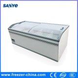 Congelador grande refrigerando direto do console da capacidade do supermercado