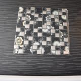 Tuile de mosaïque de verre cristal de mélange en métal de grand dos noir de bonne qualité