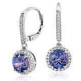 紫色の低下の形925の銀製のイヤリングの宝石類のマイクロ設定