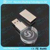 Movimentação redonda do flash do USB do cristal com logotipo 3D (ZYF1503)