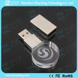 USB Flash Drive redonda de cristal con el logotipo 3D (ZYF1503)