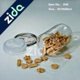 l'animale domestico trasparente della noce 300ml può, arrotondare il vaso della caramella, latta aperta facile dell'animale domestico di plastica
