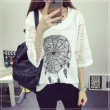 T-shirt d'impression de Madame New Design Lace MID Sleeve