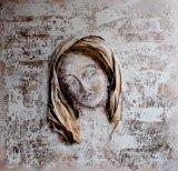 La tête de la fille sur la peinture décorative
