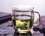 Cuvette de thé en verre d'espace libre de résistance thermique avec l'infusion et le couvercle