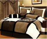 2015 Schwarzes/Brown/White Micro Suede Patchwork 4-Piece Comforter Set