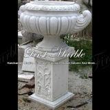 Piantatrice bianca MP-161 di Carrara della piantatrice di pietra di marmo del granito