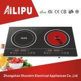 De Plastic Huisvesting van het Merk van Ailipu en de Dubbele Brander Elektrische Cooktop, het Kooktoestel van het Scherm van de Aanraking van de Inductie versus Infrarood Kooktoestel