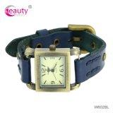 Relojes genuinos unisex de la pulsera del cuero del zurriago de la marca de fábrica de la manera