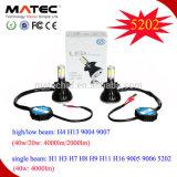 2017 poder más elevado inferior del blanco de la MAZORCA 6000k de los bulbos de la linterna de la viga LED del kit de la linterna del CREE LED H7 de 80W 8000lm